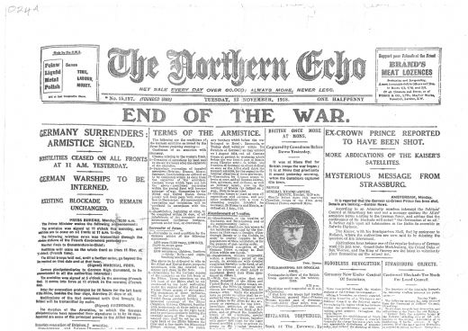 Northern Echo front page Nov 1918
