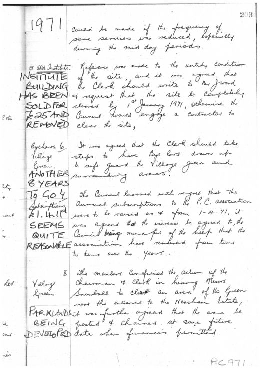 Parish Council Minutes 1971